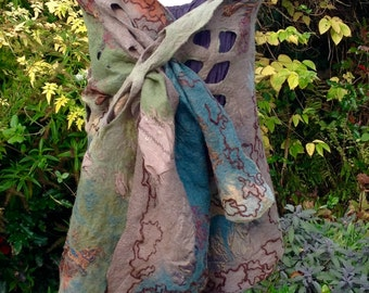 Nuno and lattice felted lagenlook shawl wrap scarf - art to wear - muted khaki blue taupe bronze gold