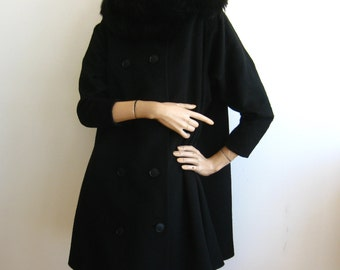 Vintage 50s Designer LILLI ANN Black Wool Coat Swing Jacket Fox Fur Collar - Small Petite