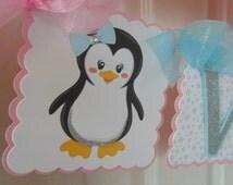 Penguin pink, aqua and silver  happy birthday name  1st birthday  Christmas birthday winter Onederland wonderland snowflake