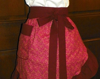 Fun, Flirty, Sassy Hostess Waist Apron 21 In Vines on Wine by Nanasaprons Handmade for Fun Cooking Baking