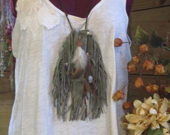 Bohemian Chic Leather Fringe Bag, Green Leather Medicine Bag Necklace, small Festival Bag, Large Spirit bag