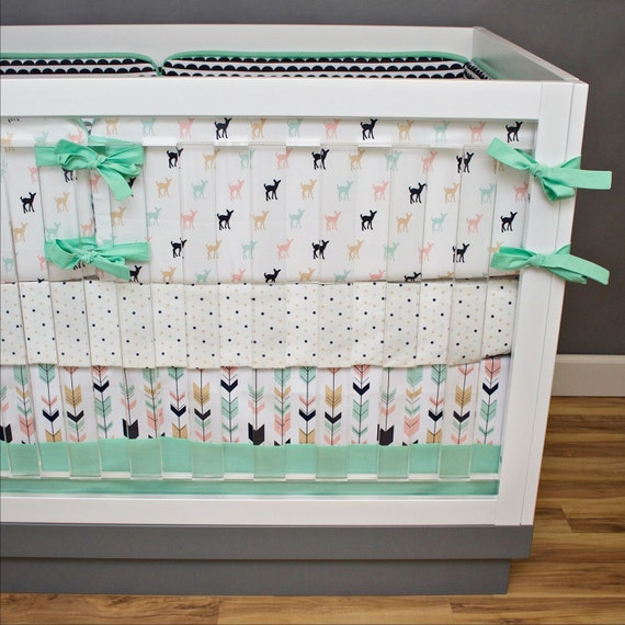 Pink Mint And Gold Nursery: Fawn Crib Bedding Nursery Bedding Pink Mint Navy And Gold