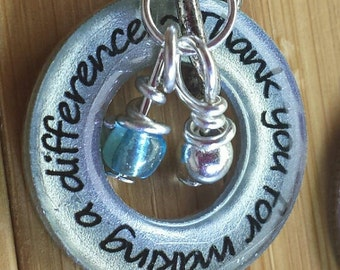 Teacher necklace or key chain Thank you for making a difference13/16 silver washer word quote pendant with chain