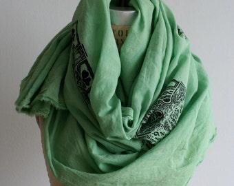 Celtic Cross Green Scarf Irish Soft Cotton