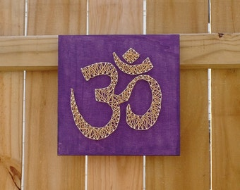 Om String Art - Purple Om Art - Om Wall Decor