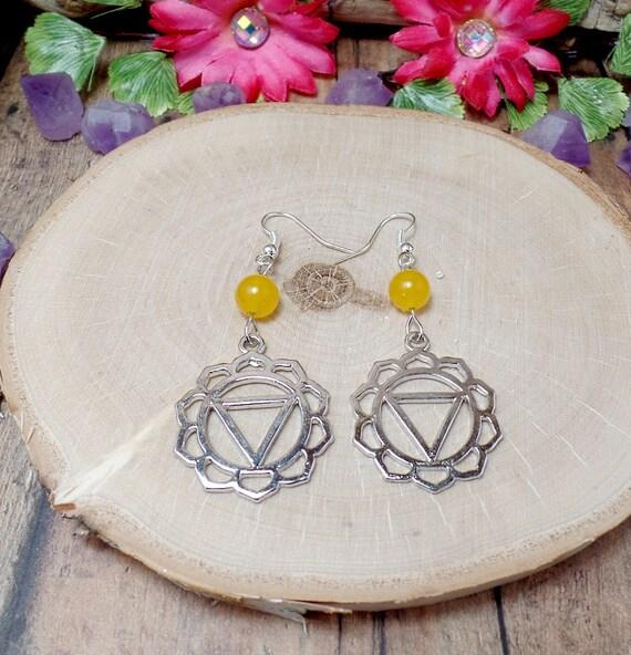 Solar Plexus Chakra Earrings - Jade Earrings - Yellow - Gemstone Earrings