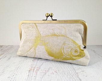 READY TO SHIP. Metallic Gold Printed Goldfish Clutch. Natural Linen Clutch. Screen Printed Fish Clutch. Fish Purse. Animal Curiosity