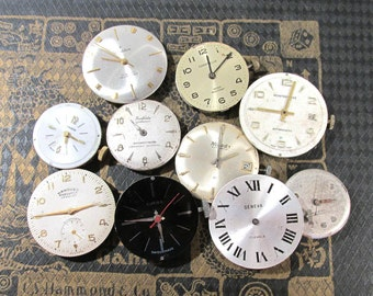 Watch Parts VINTAGE Watch Parts Ten (10) Watch Mechanical Movements Jewels Gears Face Plates Watch Gears Jewelry Art Supplies (G187)