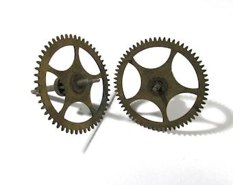 Clock Gears Vintage STEAMPUNK Gears Two (2) Large Clock Gears Mechanical Movements Robots Art Assemblage Supplies Clock Repair Supply (D80)