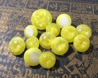 Yellow Glass Buttons West Germany Moonglow VINTAGE Yellow Glass Buttons (13) Assorted Vintage Buttons Jewelry Sewing Supplies (J143)