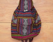 Beautiful Vintage 80's Rinbow Woven Guatemalan India Striped Backpack