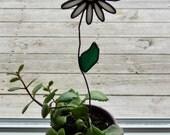 "Stained Glass White Shasta Daisy with Leaf Pot Sticker/Garden Stake 12"""