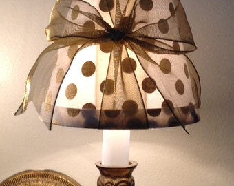 Chandelier lamp shade, lampshade in a white with gold dot fabric and topped with beautiful sheer gold bow