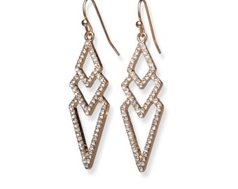 Gold Chevron Crystal Earrings