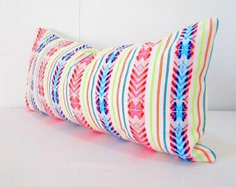 Mexican embroidered pillow, Tribal pillow, Long White Pillow, Lumbar pillow, Pillowcase aztec, Boho room Decor, Cinco de Mayo Aztec