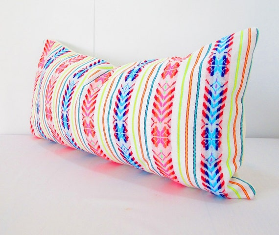Mexican embroidered pillow Tribal pillow Long White Pillow