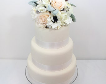 Wedding Cake Topper - White, Blush Pink Rose, Anemone, Lamb's Ear Silk Flower Cake Topper, Fake Flower Topper, Wedding Cake Flowers