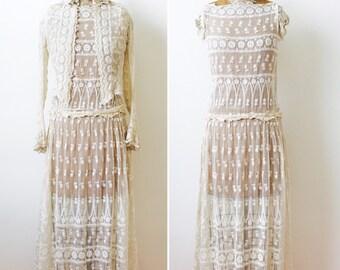 Vintage 1920s white lace flapper dress/Two piece set/Vintage Bridal/Vintage wedding dress/Pristine condition/Small
