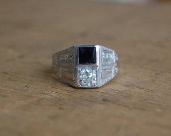 Art Deco 18K stacked toi et moi diamond sapphire ring ∙ Art Deco engagement ring