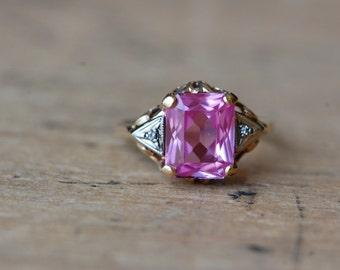 Vintage 14K pink corrundum and diamond ring ∙ 1950s pink gemstone dress ring