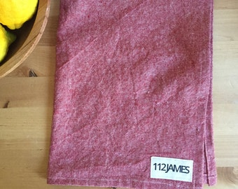 modern red chambray tea towel, linen and cotton