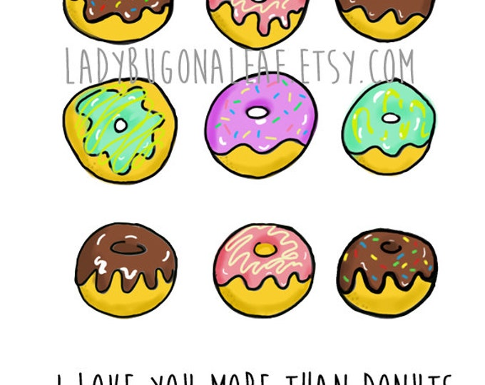 Donut Valentines Day Card, Donuts Valentines Day Card, donut doodle, made on recycled paper, comes with envelope and seal