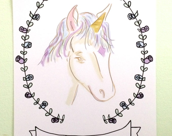 Unicorn Art, Be Amazing, Unicorn Fantasy Art, Childrens Art, Unicorn Nursery Art