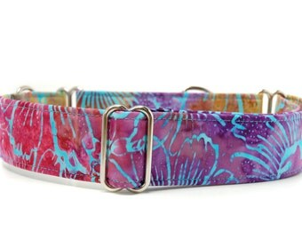 Martingale Dog Collar,,, Floral Dye,,bright, multi colour  turquoise Martingale Dog Collar in 1.5 inch or 2 inch width