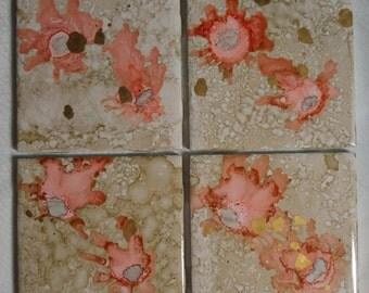 floral ceramic tile coaster set