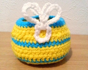 Striped Bunny Basket, Crochet Easter Basket, Yellow and Blue Stripes Basket Holiday Decor