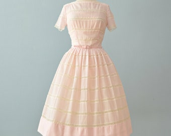 Vintage 1950s Day Dress...LAIGLON Soft Cotton Candy Pink Semi Sheer Day Dress Garden Party Dress