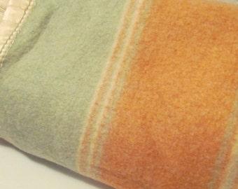 Vintage wool //  Woolen Camp Stadium Blanket Peach sea foam Satin Binding Glamping