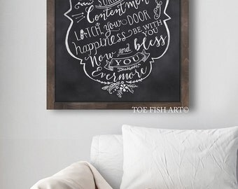 Irish Blessing - Hand Lettered - Chalkboard Art - May Joy and Peace Surround You - Blessing  Word Art  - Wall Decor  -Wood Sign