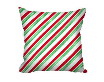 Christmas Pillow Cover, Candy Cane Pillow Cover, candy cane stripes, red and green stripes, striped pillow, Christmas decor, holiday pillow