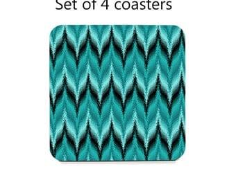Chevron Coaster Set, drink coasters, set of 4, teal coasters, housewarming gift, cork back coasters, hostess gift, party decor