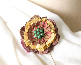 Gift for Her, Scarf Pin, Floral Stick Pin, Fabric Flower Brooch, Purple and Gold Lapel Pin with Green Vintage Jewel, Boutonniere, Shawl Pin