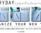 ORGANIZE - Clean Mama's EVERYDAY Resolution Kit - aqua+black - 50+ documents - Instant Download