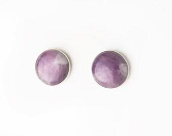 Large Round Amethyst Stud Earrings