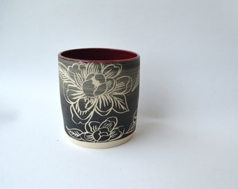 F L O R A L : ceramic stoneware tumbler