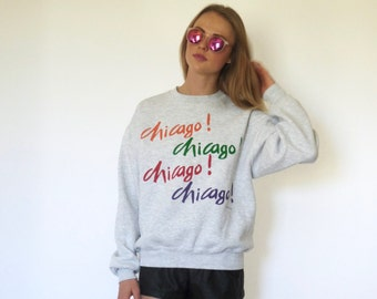 80s Heather Gray Colorful Chicago Crew Sweatshirt xs s m