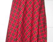 Vintage Tartan Plaid Skirt.  Red Black and Yellow Plaid Skirt. Plaid Midi Skirt. Plaid Skirt.