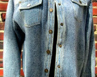 Denim Sweater Jacket.  Blue Jean Sweater Jacket. Denim Cardigan. Denim Snap Front Cardigan.