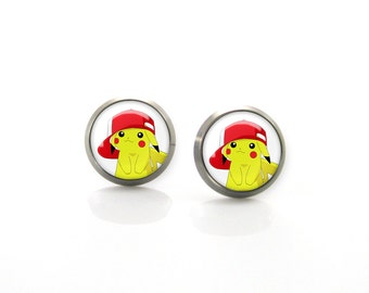 Pikachu Pokemon Titanium Post Earrings | Hypoallergenic Sensitive Stud Titanium Earrings | Funny Girls earrings | Cute Children Earrings