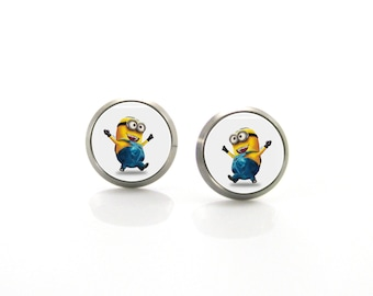 Minion Titanium Post Earrings | Hypoallergenic Sensitive Earring Stud | Titanium Stud Earrings | Funny Girls earrings | Children Earrings