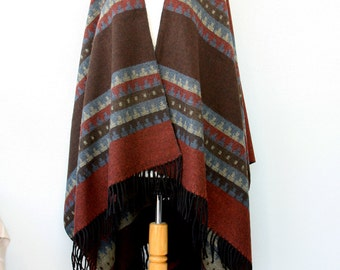 Autumn fall poncho Aztec cape Winter wrap Tribal Women clothing Native outerwear Winter shawl Boho chic wrap Gift for her Blanket shawl