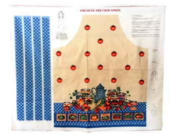 Kitchen Canning Apron Cotton Fabric Panel Cream of the Crop Cut & Sew Joan Messmore VIP Cranston Tomatoes Vegetables DIY Ladies Bib Apron