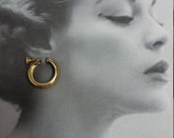 1960s Gold Hoop Earrings by Monet, Screw Back Hoops, Vintage Hoop Earrings Goldtone, #59605