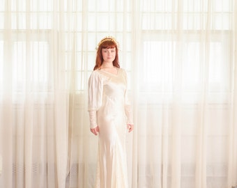 Vintage 1930s Wedding Dress - 30s Bias Cut Wedding Gown -