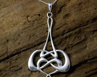 Art Nouveau Pendant, Celtic Necklace, Handmade, Sterling Silver, Swarovski Pearl, Sterling silver, Celtic Knot jewellery, Silver pendant.