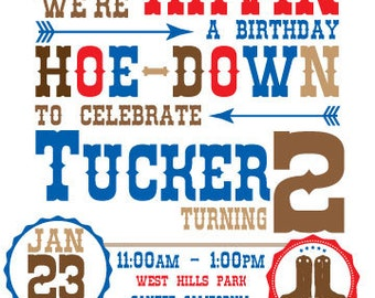 DIY Cowboy or Cowgirl birthday invitation